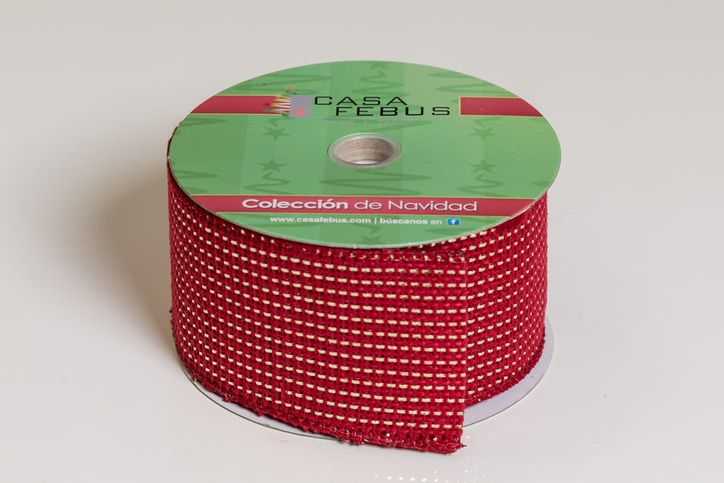 "2.5"" x 25Ft Glittered Ribbon - Red"