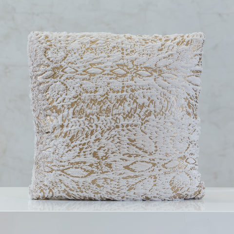 "18"" x 18"" Urbane Gold Brush Pillow - Beige"