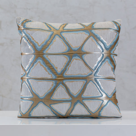 "18"" x 18"" Urbane Triangles Pillow - Blue Comb."