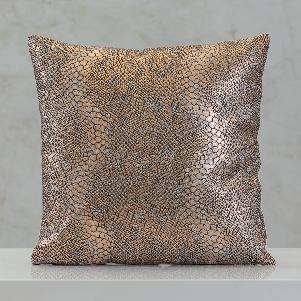 "16.5"" x 16.5"" Urbane Snakeskin Pillow - Copper"
