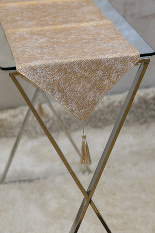 "12"" x 72"" Urbane Snakeskin Table Runner - Gold"