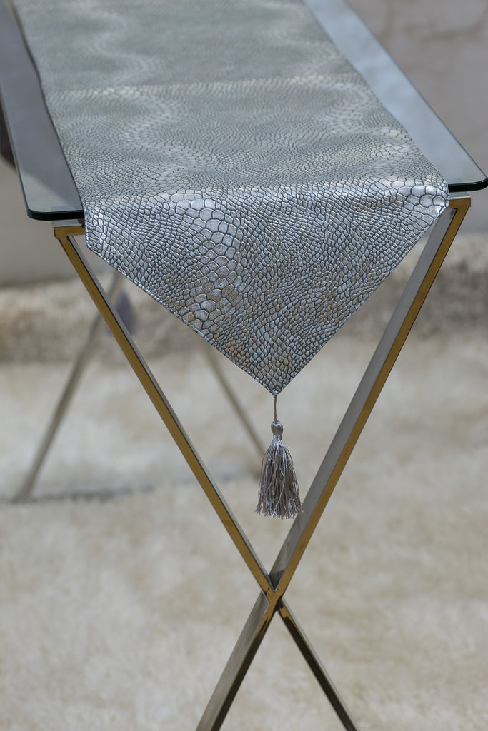 "12"" x 72"" Urbane Snakeskin Table Runner - Silver"
