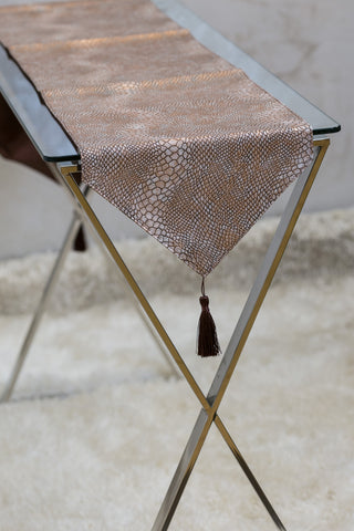 "12"" x 72"" Urbane Snakeskin Table Runner - Copper"