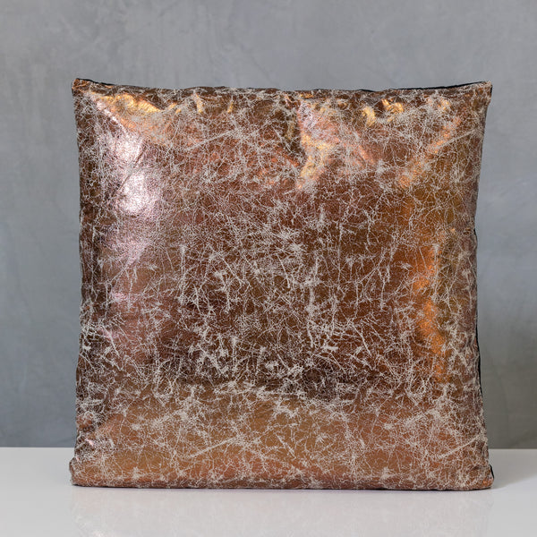 "18"" x 18"" Copper/Cream Metallic Pillow - Sparkle Collection"