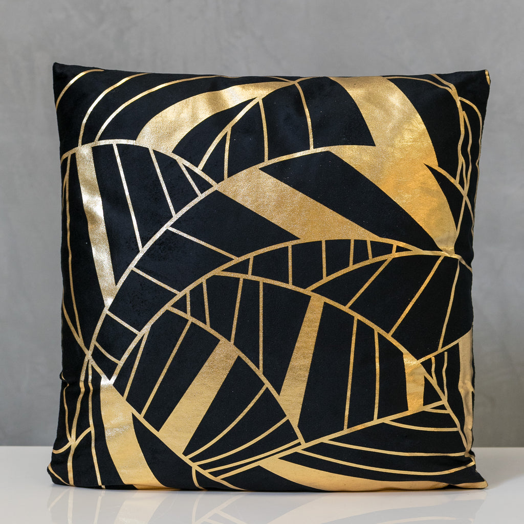 "18"" x 18"" Gold/Black Tropics Pillow - Sparkle Collection"
