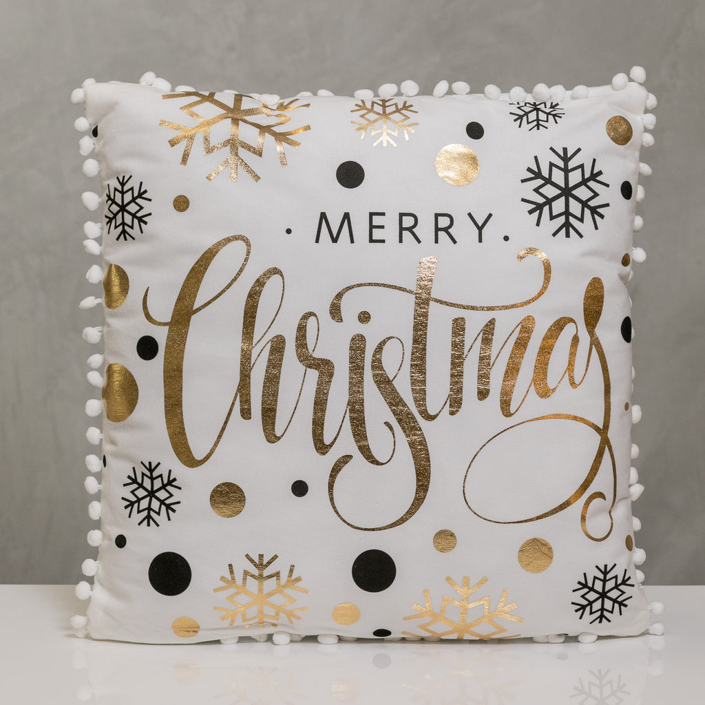 "18"" x 18"" Gold/Black Merry Christmas Pillow - Sparkle Collection"
