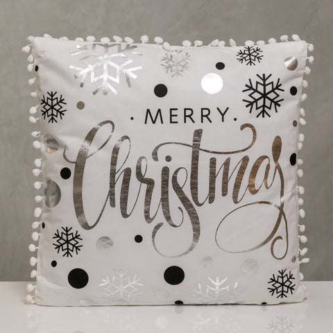 "18"" x 18"" Silver/Black Merry Christmas Pillow - Sparkle Collection"