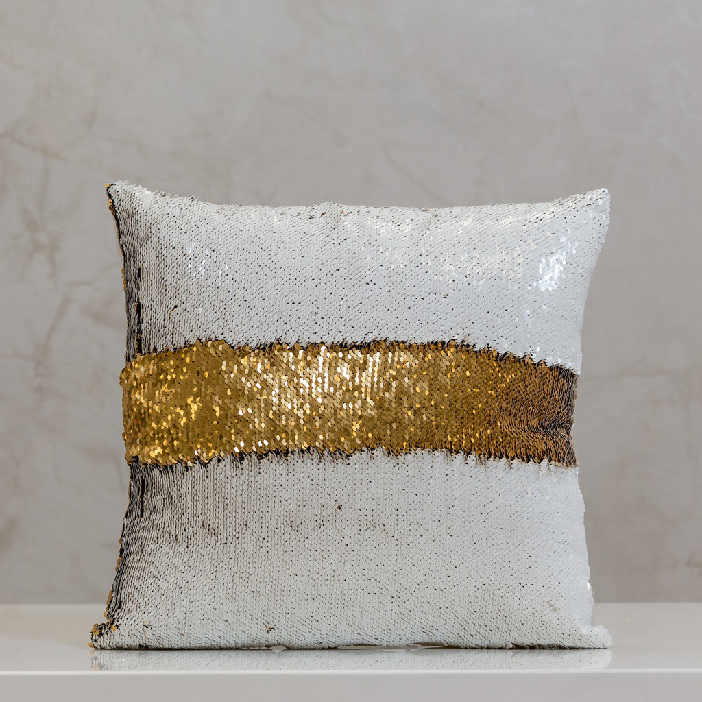 "18"" x 18"" Reversible Sequin Pillow - White/Gold"