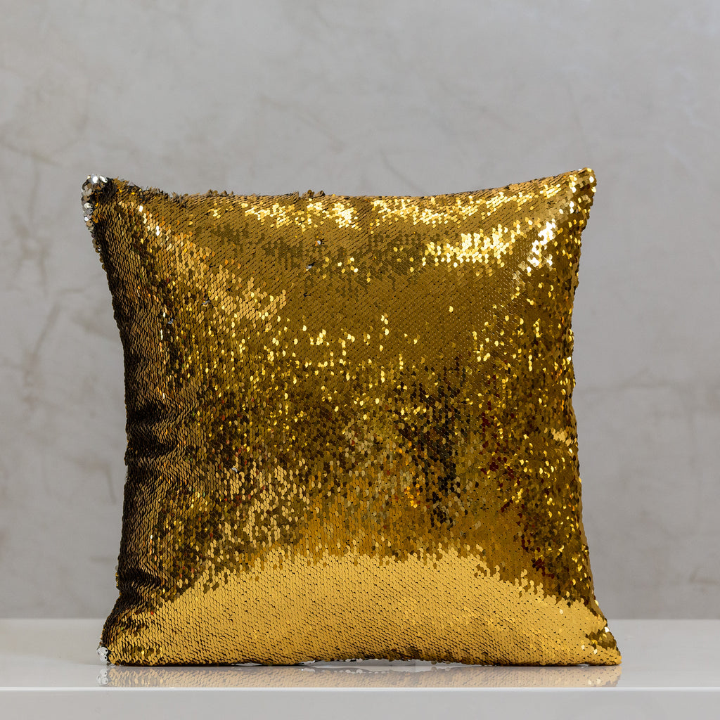 "18"" x 18"" Reversible Sequin Pillow - Silver/Gold"