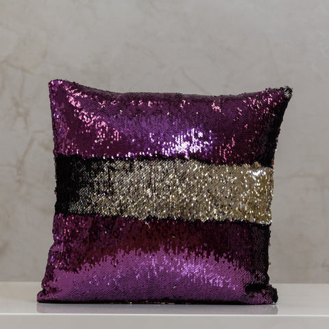 "18"" x 18"" Reversible Sequin Pillow - Purple/Silver"