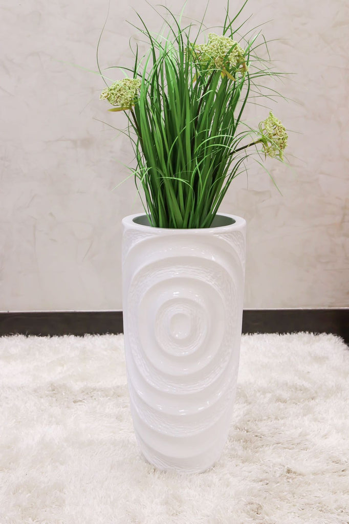"30"" Vogue Modern Planter - White Circles - Casa Febus - Home • Design"