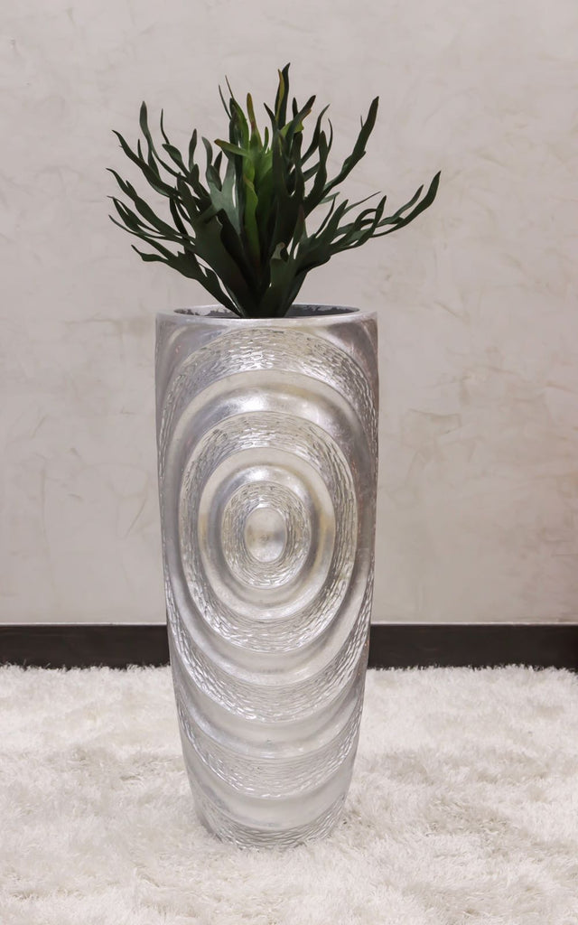 "35"" Vogue Modern Planter - Silver Circles"