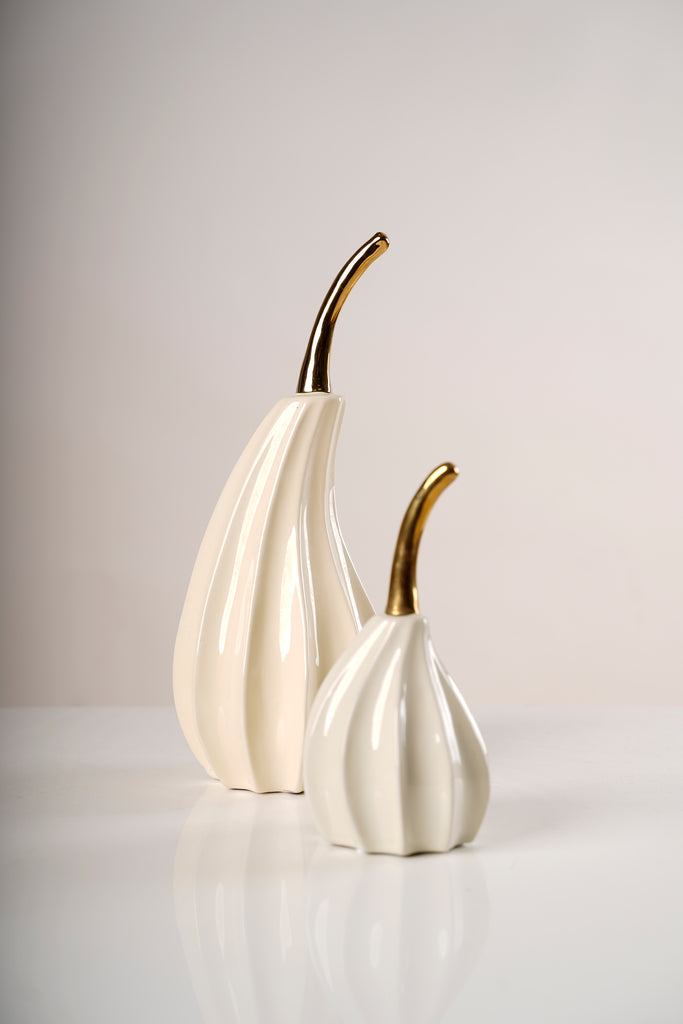 "14"" Gold/Cream Ceramic 3D Pear - Pur collection"