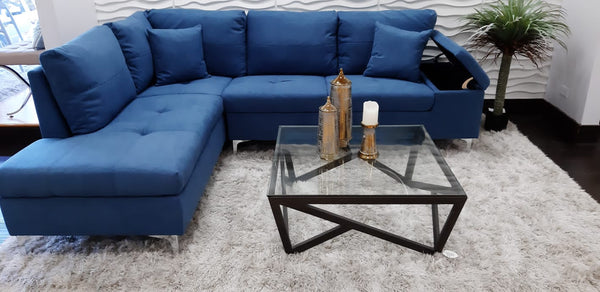 Daniele Sectional Left Side Sofa - Blue