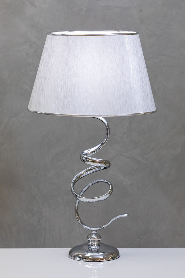 "28"" Nuv Metal Curvy Table Lamp B - White/Silver"