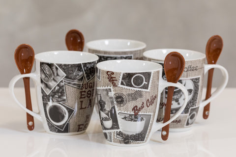 12oz Coffee Time Set/4 Mugs- Premium Coffee