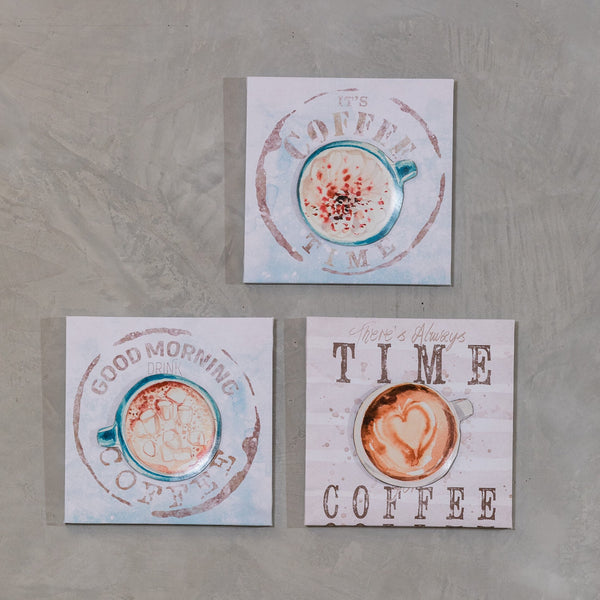 "Set of 3 11"" x 11"" Coffee Time Wall Decor - Morning Coffee"
