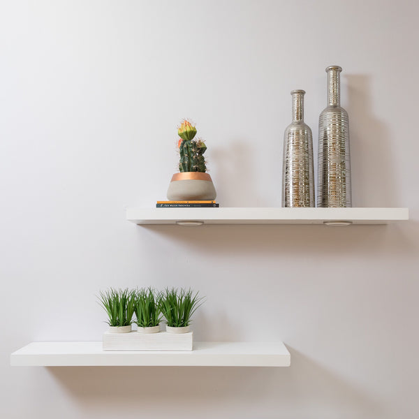 "24"" White Floating Shelf - Elizabeth Collection"
