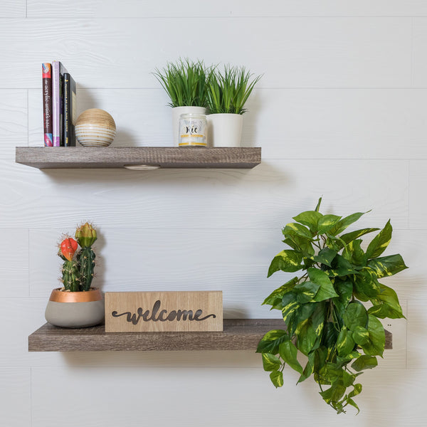 "24"" Natural Floating Shelf w/LED- Elizabeth Collection"