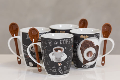 12oz Coffee Time Set/4 Mugs- Dark Roast