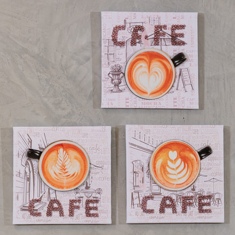 "Set of 3 11"" x 11"" Coffee Time Wall Decor - CAFE"
