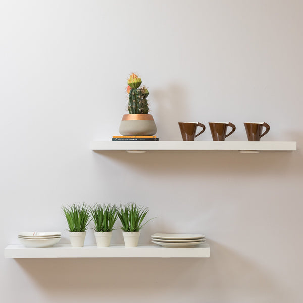 "36"" White Floating Shelf - Elizabeth Collection"