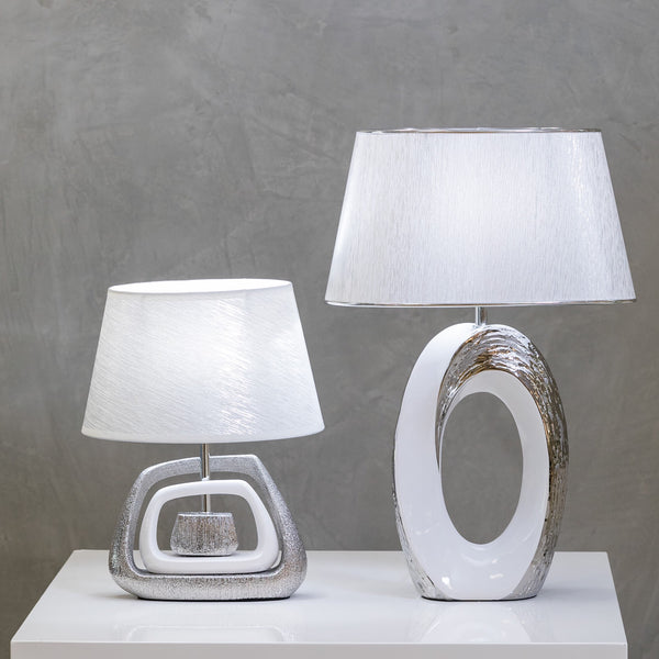 "20"" Nuv Ceramic Table Lamp - White/Silver"