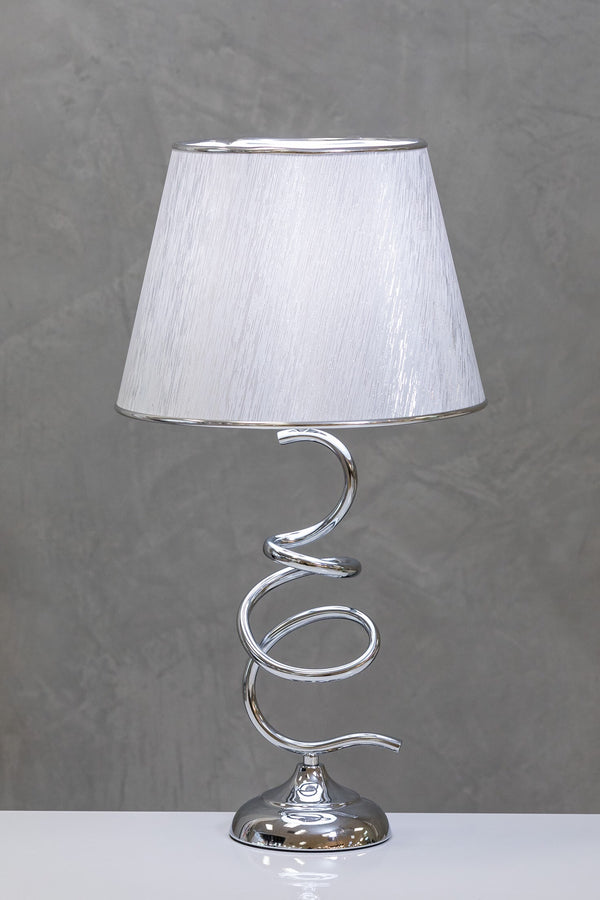 "34"" Nuv Metal Curvy Table Lamp - White/Silver"