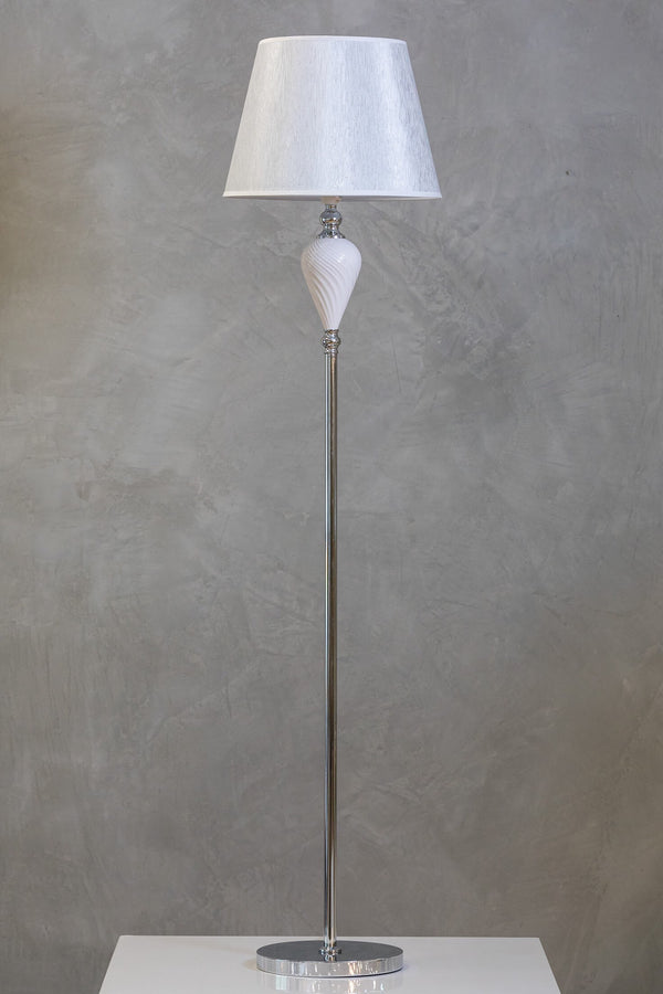 "60"" Nuv Floor Lamp - White/Silver"