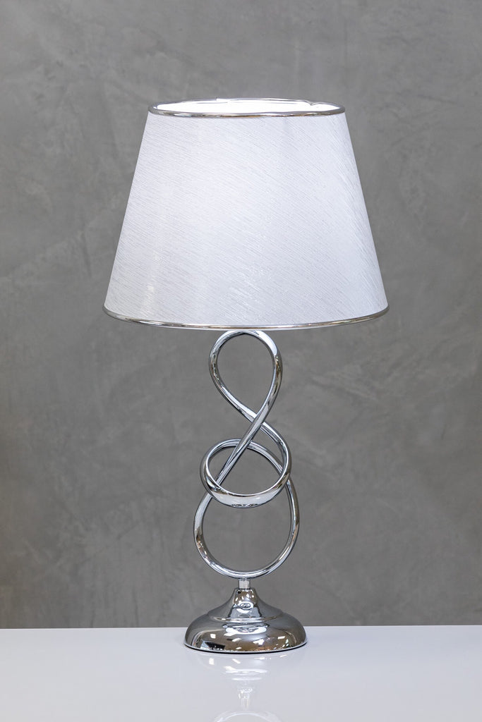 "28"" Nuv Metal Curvy Table Lamp A - White/Silver"