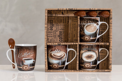 12oz Coffee Time Set/4 Mugs- Coffee Blends