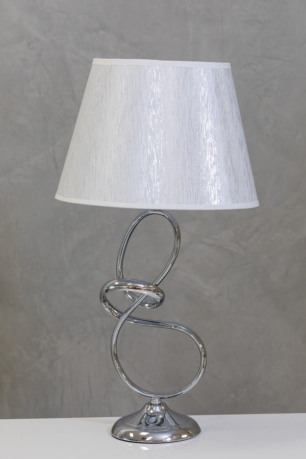 "30"" Nuv Metal Curvy Table Lamp - White/Silver"