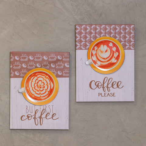 "Set of 2 12"" x 16"" Coffee Time Wall Decor -  Cofee Please"