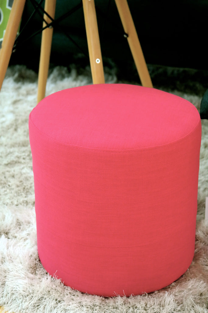 "Penelope Round Ottoman - Color: Electric Pink 16""H x 16D"" - Casa Febus - Home • Design"
