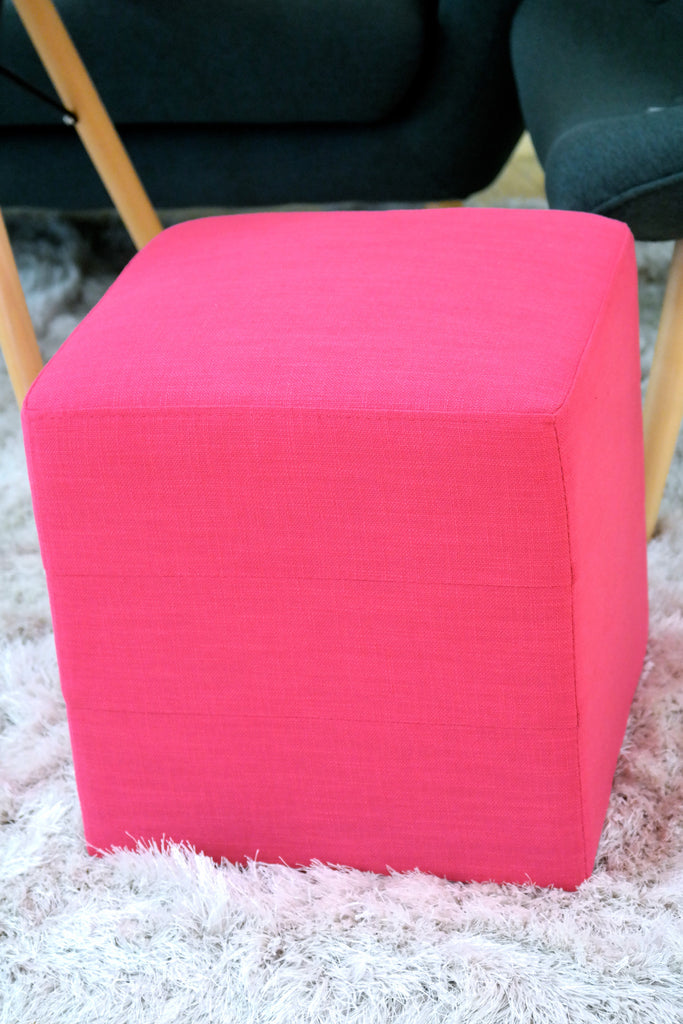 "Penelope Square Ottoman - Color: Electric Pink 16""H x 16"" - Casa Febus - Home • Design"