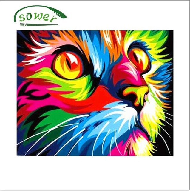 Lion Painting By Numbers Frameless Colorful Animals Abstract Painting Diy Digital Modern Wall Art Picture For Home Wall Artwork