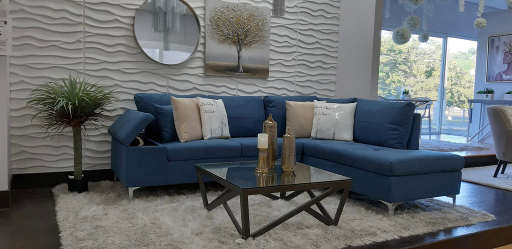 Daniele Sectional Right Side Sofa - Blue