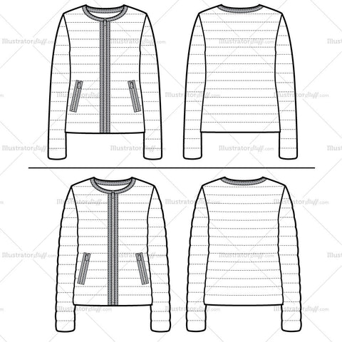Light Puffer Jacket Flat Template