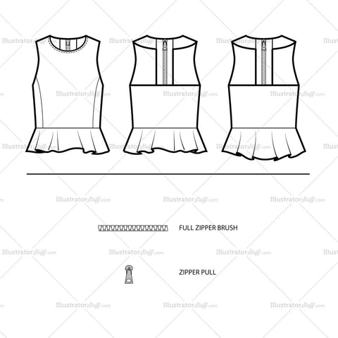 Peplum Crop Top Flat Template