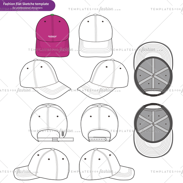Baseball Cap set Fashion flat technical drawing vector template