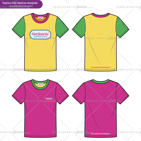 Basic fit Tee shirt Fashion flat technical drawing vector template2
