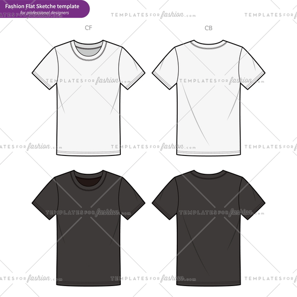 Basic fit Tee shirt Fashion flat technical drawing vector template