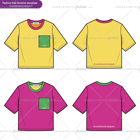 Croptop Teeshirt fashion flat technical drawing template