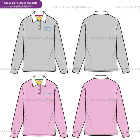 LONG SLEEVE POLO SHIRTS fashion flat technical drawing template