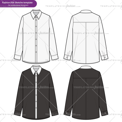 LONG SLEEVE SHIRTS Fashion flat technical drawing vector template