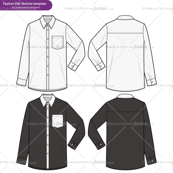 LONG SLEEVE SHIRTS fashion flat technical drawing template