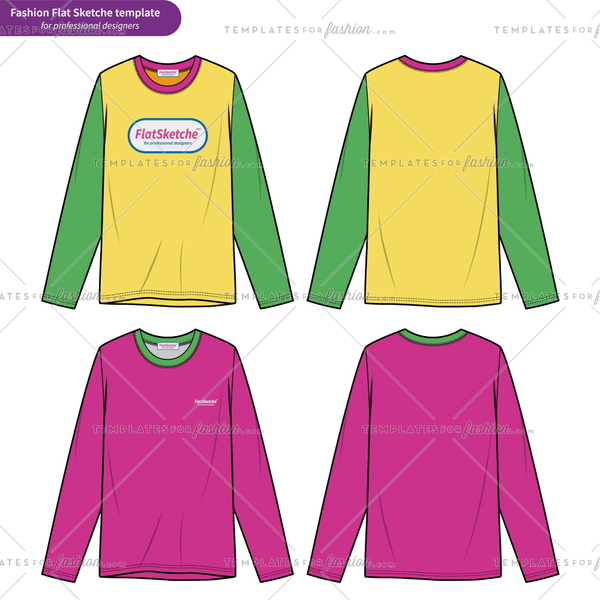 LONG SLEEVE T-SHIRTS fashion flat technical drawing template