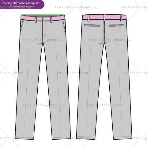 PANTS FORMAL TROUSERS Fashion flat technical drawing vector template