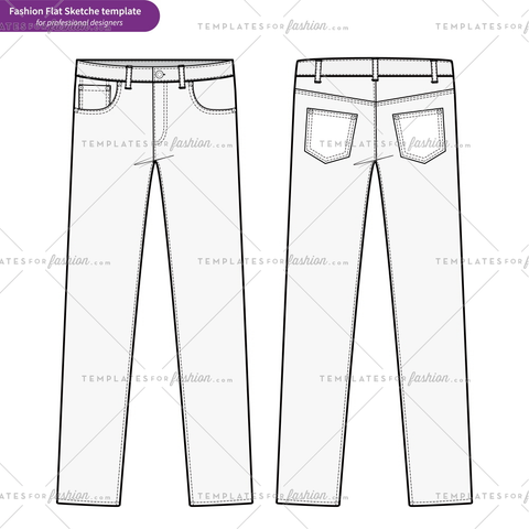 PANTS JEANS Fashion flat technical drawing vector template