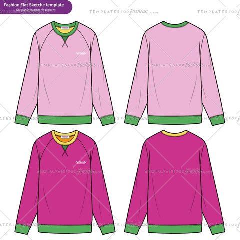 Raglan SWEATSHIRTS Fashion flat technical drawing vector template